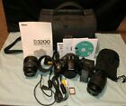 Nikon D D3200 242 MP Kit w 18 55mm lens + 55 200mm +Case Shutter Count 2447