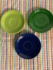 Vintage Fiestaware 3Saucers Original Colors Chartreuse&Medium Green &Cobalt Blue