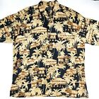 Tori Richard Honolulu Hawaiian Shirt Mens XL Huts Palm Trees Made in USA