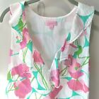 Lilly Pulitzer Sleeveless Ruffle V Neck Multi Floral Lined Top Side Zip Sz S
