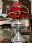 Antique Rayo Nickel Oil Lamp With Red Hobnail Shade