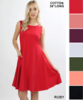 Womens A-Line Sundress Pockets Sleeveless Casual Summer Dress Zenana USA