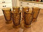 Set of 6 Large Vintage Tumblers Footed Indiana Amber Glass Whitehall Cubist