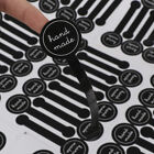 Black Hand made Self adhesive Long label sticker Cake Paper Sticker 70pcs