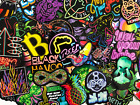 75 Colorful Neon Light Style Skateboard Bike Bicycle Stickers Lot Decal Bomb
