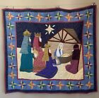 Nativity Scene Hand Quilted Appliqued Wall Hanging Tapestry Christmas Jesus EUC
