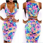 Women Sexy Two Piece Bandage Bodycon Skirt + V-Neck Crop Top Set Party Outfits