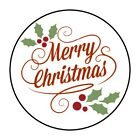 30 Merry Christmas Envelope Seals Labels Stickers 15 Round holly xmas favors