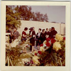 Floral Boquet Post Mortem Black Clothing Sad Funeral Vintage Photo Circa 1960s