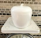 Vintage HAZEL ATLAS Milk Glass APPLE Lidded Jelly Jam Jar