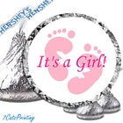 108 Its A Girl Baby Shower Pink Feet Hershey Kiss Kisses Labels Party Favor Fun