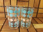 Retro Vintage Turquoise and Pink Polka Dot Drink Tumblers! MCM!