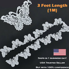 White Butterfly Lace Edge Trim Ribbon Applique Sewing Wedding Crafts Embroidery