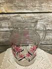 1940s Vintage Glass Ice Lip Pitcher Pink  Black Floral Flowers