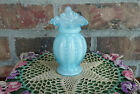FENTON Blue Overlay Opalescent JACK IN THE PULPIT Beaded Melon Mini Vase