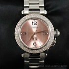 CARTIER PASHA PINK DIAL STAINLESS STEEL AUTOMATIC #2475 DIAMOND WRIST WATCH