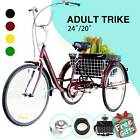 24 20 Adult Tricycle Trike 3 Wheel Cruise Bike w Basket Liner for Shopping