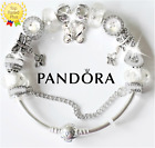 Authentic Pandora Charm Bracelet 925 Bangle SILVER BUTTERFLY w European Charms