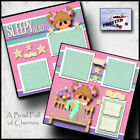 SLEEPY HEAD BABY GIRL 2 premade scrapbook pages paper piecing layout CHERRY 0095