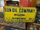 1949 Straight Arrow Porcelain Sun Oil Company (Sunoco) Oil Well Lease Sign