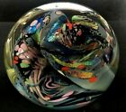 ROLLIN KARG SIGNED MONUMENTAL DICHROIC BUBBLED LARGE 6 SCULPTURE PAPERWEIGHT