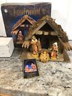 Vtg FONTANINI HEIRLOOM NATIVITY Wooden Stable Holy Family Figurine Mary Jesus