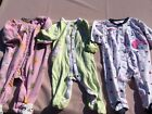 Carters Girls Size 6 9 Month Sleeper Footed Pajama Lot Kitty Cat Whale