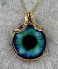 Glass Eye Pendant Necklace in 14kt Rolled Gold Setting Wire Wrapped