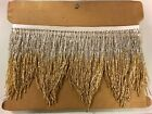 5yd Bolt 6 SILVER GOLD Ombr Glass BUGLE Beaded Fringe CHEVRON Costume Trim