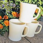 3 1940s Fire King Oven Ware Ivory Flat Bottom Mug  D Notch Handle SEE LAST PIC