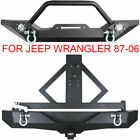 Brush Front Rear Bumper D rings W Tire Carrier For 87 06 Jeep Wrangler TJ YJ