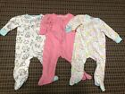 Baby Girl Gerber 6 9 Month Sleep Play Zip Footed Sleeper Cats Pink Floral 3 Pack