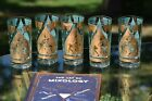 Vintage Gold and Turquoise FRED PRESS Cocktail Liquor Highball Glasses, Set of 5