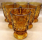 6 INDIANA WATER GLASSES AMBER AMERICAN WHITEHALL CUBED PATTERN 4 1/2
