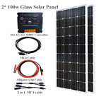 200W Glass solar Panel 20A MPPT controller 12v battery home roof outdoor Charger