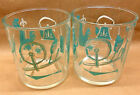 2 HAZEL ATLAS 18 oz. EZ STORE JAR CLEAR GLASSES TURQOUISE SPINNING WHEEL ETC.