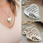 I Miss You CZ 925 Silver Angels Wings Women Pendant Necklace Jewelry Gifts