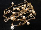 Fabulous Designer Signed Swarovski Crystal Faux Pearl Necklace 52 inch Collectab