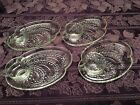 Vintage Federal Glass Luncheon 4 plates and 4 cups - Fern pattern (8 pieces)