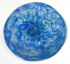 HAND BLOWN GLASS WALL OR TABLE PLATTER BOWL DIRWOOD SHADES OF BLUE
