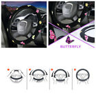 DIY 1X 38cm Butterfly Flower Embroidery Black Car Steering Wheel Protector Cover