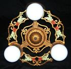 vintage antique cast iron art deco 3 light ceiling fixture chandelier