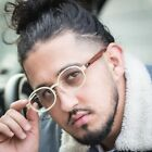 Retro Vintage Mens Buffs Gold Clear Lens Wood Frame Hip Hop Ice Out Glasses