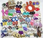 HUGE Lot of Vintage Earrings 60s 70s 80s VARIETY Dangles Clusters Buttons +++