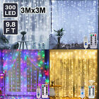 300LED 10ft Curtain Fairy Hanging String Lights Home Wedding Party 8 Modes USB