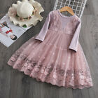 Baby Kids Girl Long Sleeve Lace Flower Party Tutu Princess Dress Casual Clothes