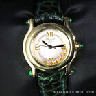 CHOPARD HAPPY SPORT FLOATING DIAMOND EMERALD 18K YELLOW GOLD GREEN WATCH