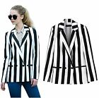 BlackWhite Vertical Striped tailored collar Blazers Jacket Pants Party Cosplay