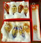 Mouth Blown Egyptian Glass Finial Christmas Ornaments 9 Pcs NOS