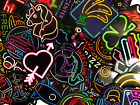 50 Colorful Neon Light Style Skateboard Laptop Stickers Lot Fast US Shipping